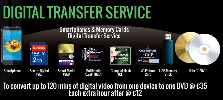 formats available for digital transfer to DVD